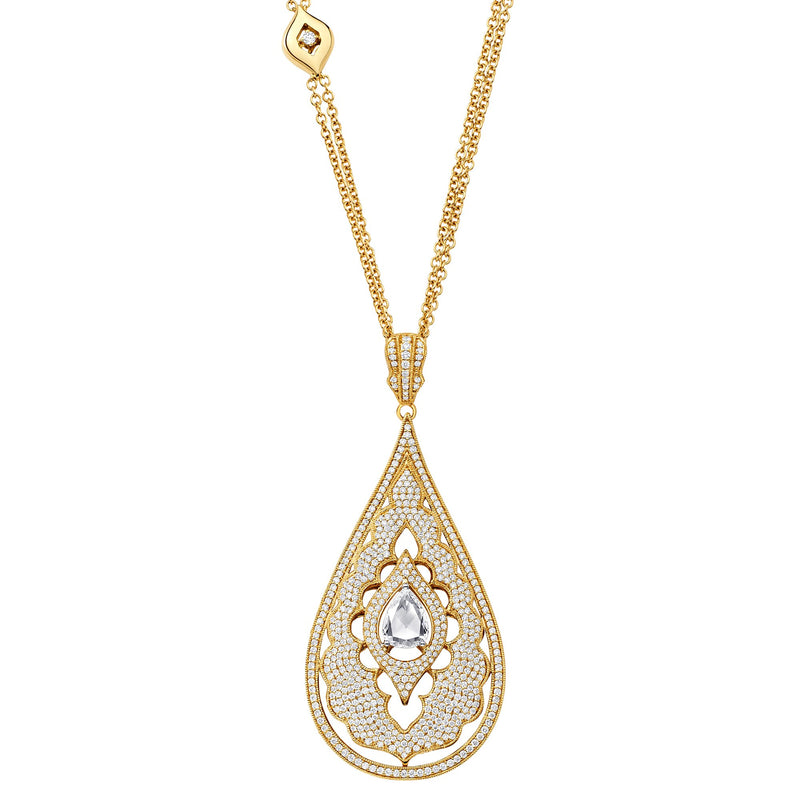 Veena Pear Pendant | Shop 18k Gold and Diamond Jewelry Pendant Necklaces | Yellow Gold | Sara Weinstock Fine Jewelry