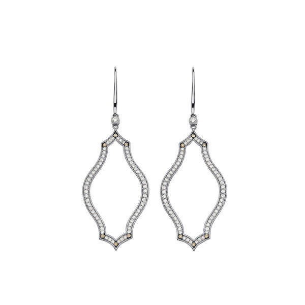 Veena Shield Earrings | Shop 18k Gold and Diamond Jewelry Statement Earrings | White Gold | Sara Weinstock Fine Jewelry