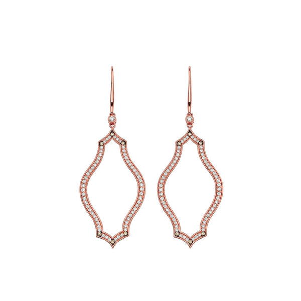 Veena Shield Earrings | Shop 18k Gold and Diamond Jewelry Statement Earrings | Rose Gold | Sara Weinstock Fine Jewelry