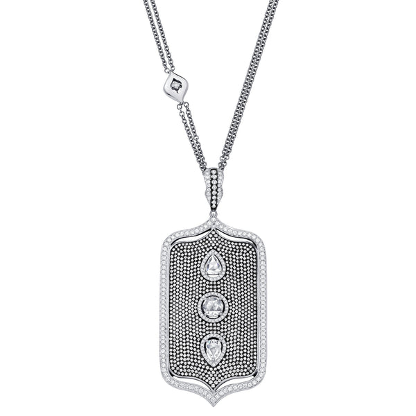 Veena Shield Pendant | Shop 18k Gold and Diamond Jewelry Pendant Necklaces | White Gold | Sara Weinstock Fine Jewelry