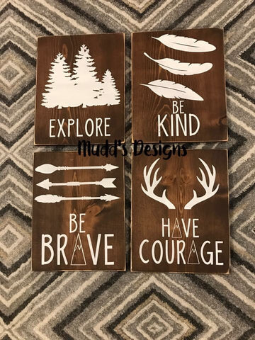 Nursery Wall Signs Explore, Be Kind, be Brave, Have Courage