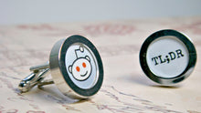 Load image into Gallery viewer, Nerdy Cufflinks, Reddit Alien Cuff Links, Techie For Him Boyfriend Gift, Reddit Cuff Links, Gamers, Mens Cufflinks, Geeky Jewelry, Wholesale