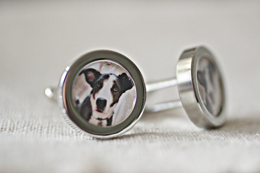 Personalised Pet Print Cufflinks, Dog Dad Cuff Links, Pet Photo Cufflinks For Him Boyfriend Gift, Custom Photo Cuff Links, Mens Cufflinks, Father's Day Gift