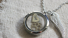 Load image into Gallery viewer, Personalised pet memorial gift, Pet loss Necklace, Lock of Hair Necklace, Loss of a Pet, Floating Charm Memory Locket Fur Ashes Dog Keepsake