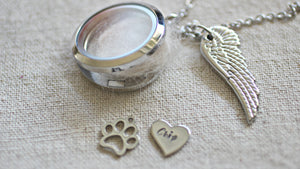 Personalised pet memorial gift, Pet loss Necklace, Lock of Hair Necklace, Loss of a Pet, Floating Charm Memory Locket Fur Ashes Dog Keepsake