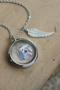 Pet loss Memory Locket Necklace, Lock of Hair Necklace, Pet memorial gift, Loss of a Pet, Glass Floating Locket Fur Ashes Dog Keepsake