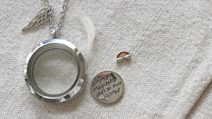 Pet memorial gift, Rainbow Bridge Dog Necklace. Pet loss Necklace, Lock of Hair Necklace, Loss of a Pet, Floating Charms Locket Keepsake