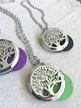 Load image into Gallery viewer, Silver Tree of Life Necklace, Aromatherapy Necklace, Stainless Steel Essential Oil Necklace, Essential Oil Diffuser Necklace, Meditation Gifts, Diffuser