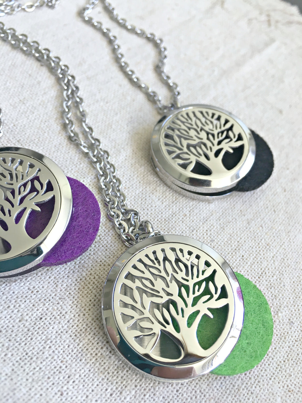 Silver Tree of Life Necklace, Aromatherapy Necklace, Stainless Steel Essential Oil Necklace, Essential Oil Diffuser Necklace, Meditation Gifts, Diffuser