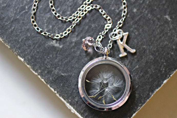 Dandelion Necklace, Wish Necklace, Birthstone Jewelry Gifts, Dandelion Seed Necklace, Personalised Necklace, Glass Floating Locket Necklace