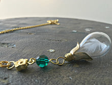 Load image into Gallery viewer, Feather Necklace Gold, Teardrop Necklace, Memorial Necklace, Angel Necklace, Emerald Necklace, Emerald Birthstone, Protector Necklace, Hope