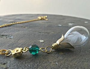 Feather Necklace Gold, Teardrop Necklace, Memorial Necklace, Angel Necklace, Emerald Necklace, Emerald Birthstone, Protector Necklace, Hope