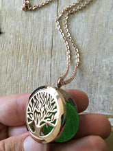 Load image into Gallery viewer, Tree of Life Necklace, Aromatherapy Necklace, Rose Gold Essential Oil Necklace, Essential Oil Diffuser Necklace, Meditation Gifts, Diffuser