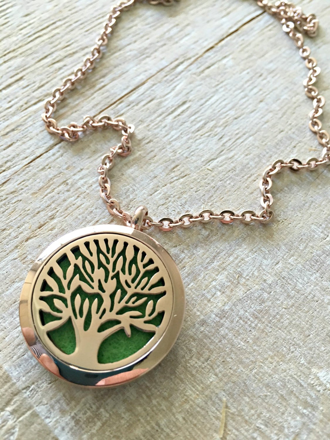 Tree of Life Necklace, Aromatherapy Necklace, Rose Gold Essential Oil Necklace, Essential Oil Diffuser Necklace, Meditation Gifts, Diffuser