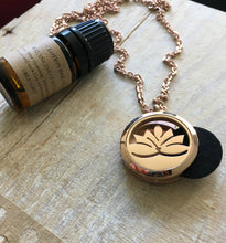 Load image into Gallery viewer, Aromatherapy Necklace, Rose Gold Essential Oil Necklace, Essential Oil Diffuser Necklace, Lotus Necklace, Meditation Gifts, Lotus Flower