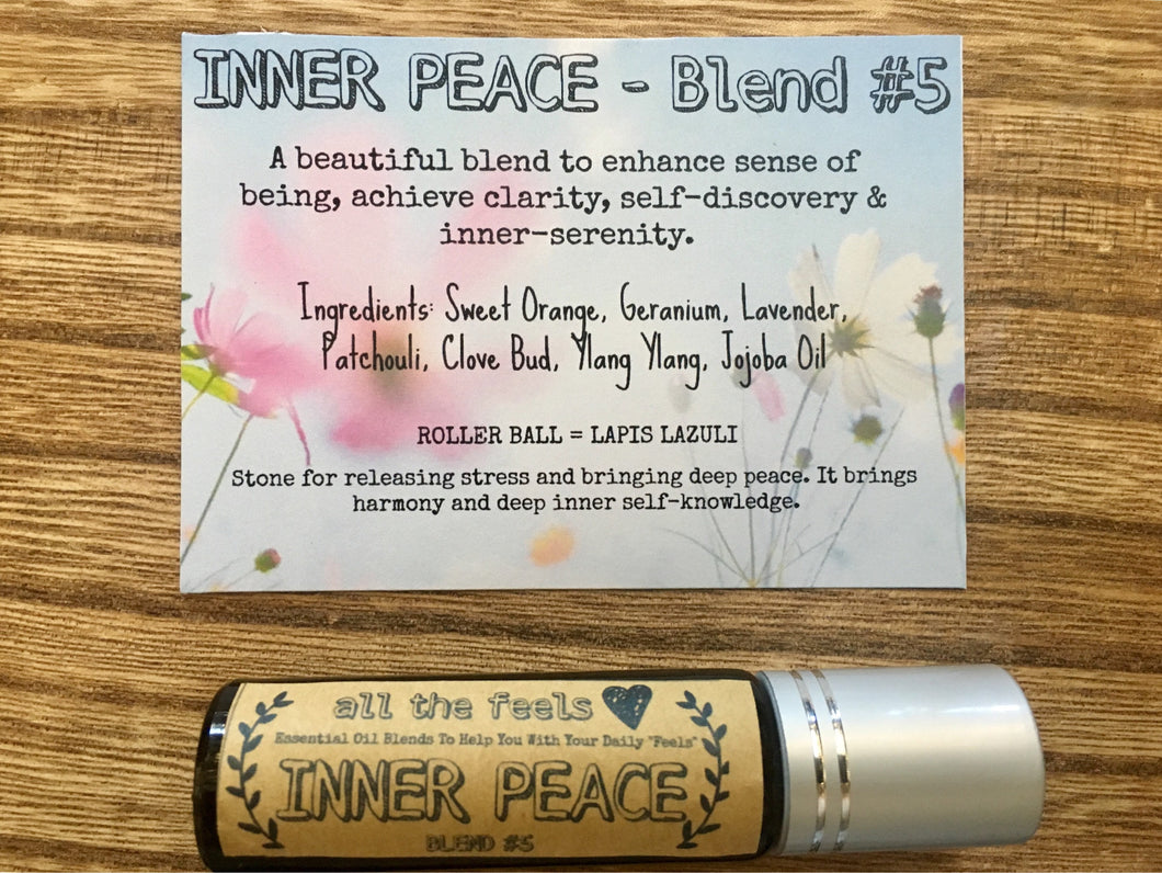 Inner Peace Roll on Balm, Healing Gift, Essential Oils Roller Bottle, Mind Clearing Roller Ball Pure Essential Oil Blend Lapis Lazuli Roller
