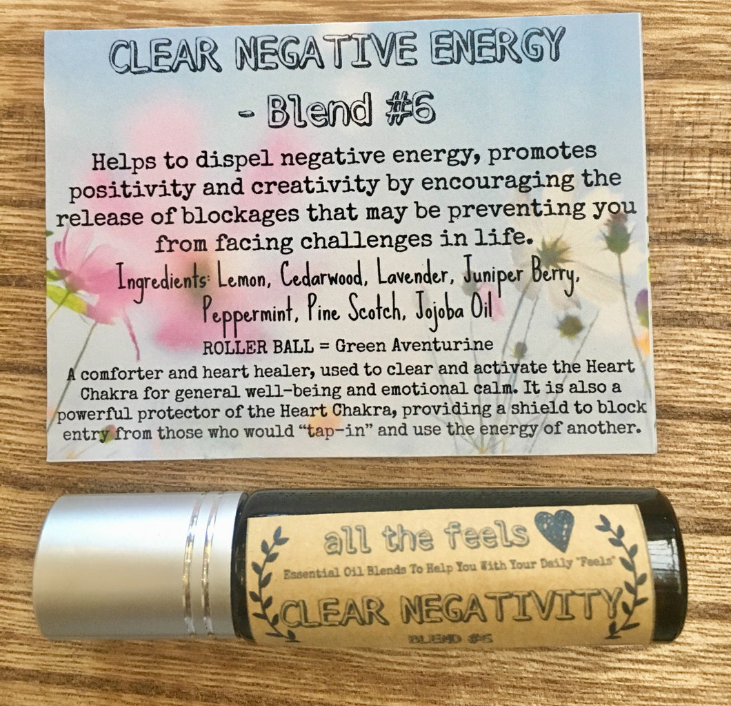 Clear Negativity, Roll on Balm, Healing Gift, Essential Oils Roller Bottle, Mind Clearing Roller Ball Pure Essential Oil Blend, Rollon