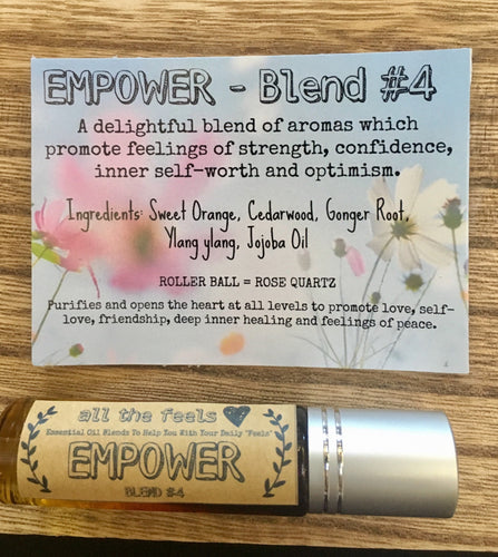 Empower Roll on Balm, Self Care Gift, Essential Oils Roller Bottle, Confidence Roller Ball Pure Essential Oil Blend, Carnelian Roller Rollon