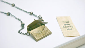 Love Letter Necklace, Envelope Necklace, Quote Necklace, Bird Necklace, Bronze Personalised Necklace, Locket Necklace, Vintage Locket