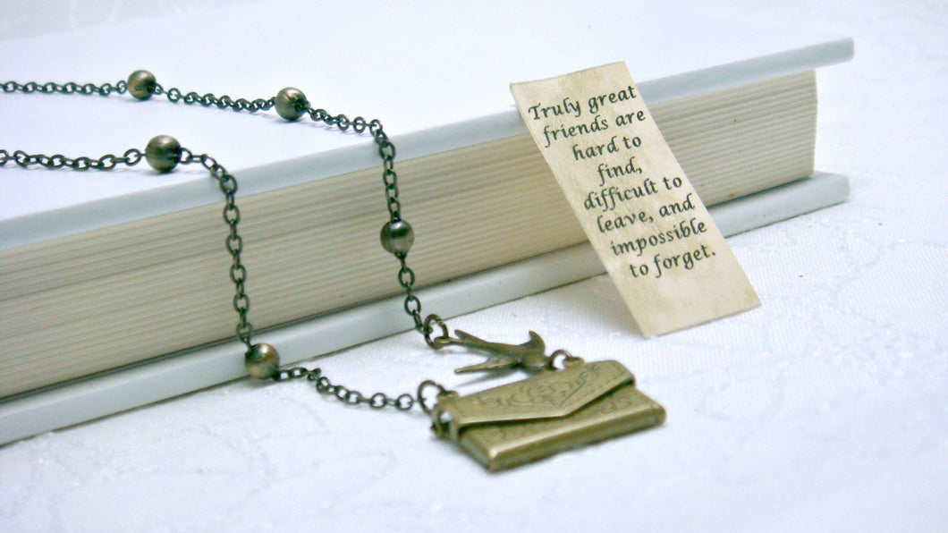 Letter Locket Necklace, Envelope Necklace, Friendship Necklace, Bird Necklace, Personalized Necklace, Secret Message