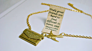 Letter Locket Necklace, Envelope Necklace, Friendship Necklace, Bird Necklace, Gold Personalized Necklace, Secret Message