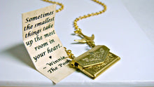 Load image into Gallery viewer, Letter Locket Friendship Necklace Envelope Necklace, Winnie the Pooh Quote Necklace, Bird Necklace, Secret Message Necklace, Locket Necklace