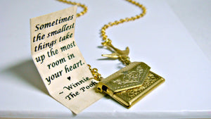 Letter Locket Friendship Necklace Envelope Necklace, Winnie the Pooh Quote Necklace, Bird Necklace, Secret Message Necklace, Locket Necklace