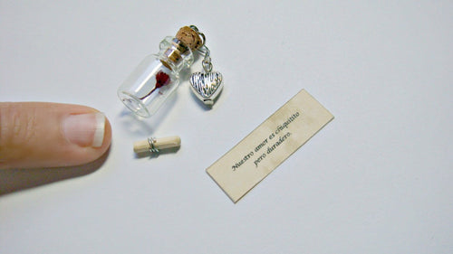 Tiny Bottle, The Tiniest Message In a Bottle You'll Ever See, Miniatures, Glass Bottle, Personalised Gift, Secret Message, Hidden Message