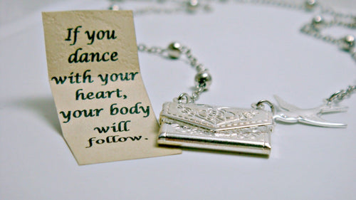 Dancer Necklace, Envelope Necklace, Dancer Gift, Dancer Jewelry, Silver Personalized Necklace, Friendship Necklace, Secret Message