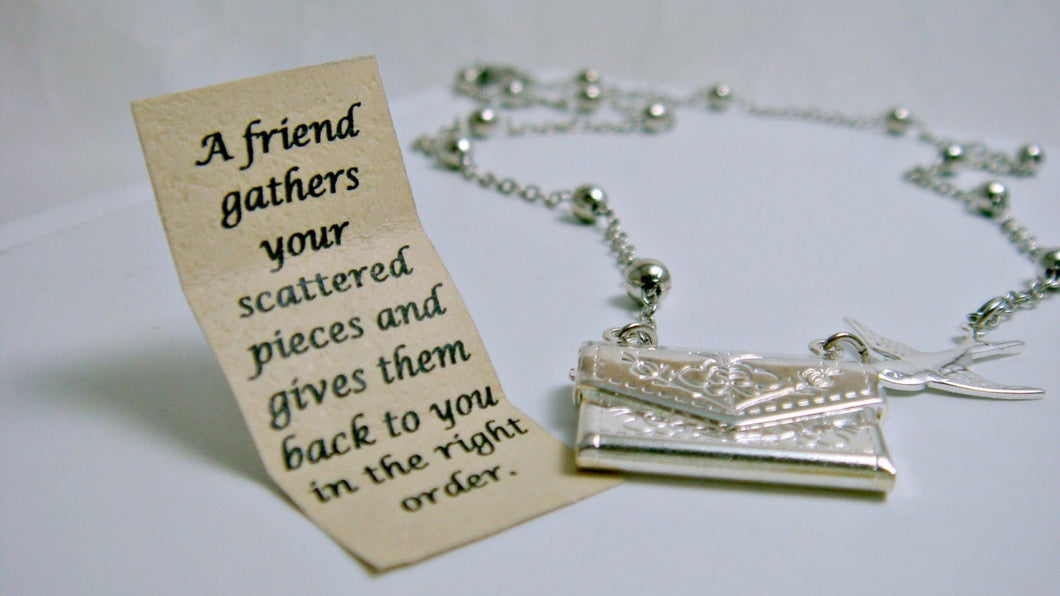 Letter Locket Necklace, Envelope Necklace, Friendship Necklace, Bird Necklace, Silver Personalized Necklace, Secret Message