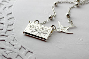 Letter Locket Necklace, Friends are Like Stars Envelope Necklace, Friendship Necklace, Silver Personalized Necklace, Secret Message