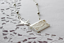 Load image into Gallery viewer, Letter Locket Necklace, Friends are Like Stars Envelope Necklace, Friendship Necklace, Silver Personalized Necklace, Secret Message