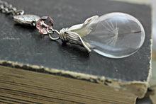 Load image into Gallery viewer, Dandelion Necklace, Wish Necklace, Nature Necklace, Dandelion Seed Necklace, Dandelion Pendant, Glass Vial Necklace, Glass Teardrop Necklace