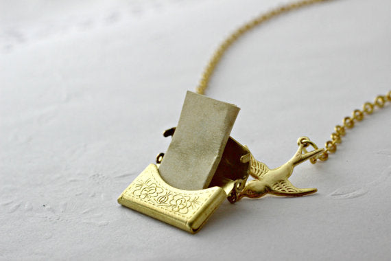 Secret Message in an Envelope Necklace, Envelope Locket, Love Letter Necklace, Personalized Necklace, Friendship Necklace, Marriage Proposal