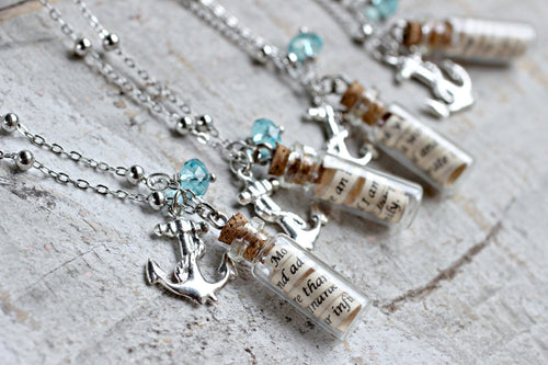 Friendship Necklace, Message in a Bottle Necklace, Silver Anchor Necklace, Personalized Necklace, Swarovski Necklace, Bridesmaid Gift