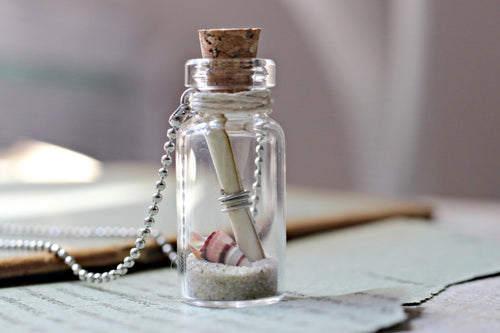 Australian Made Beach Bottle Necklace, Friendship Necklace, Secret Message In A Bottle Necklace, Australian Jewelry, Wholesale Jewelry, Sand