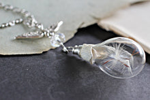 Load image into Gallery viewer, Dandelion Seed Necklace, Wish Necklace, Dandelion Necklace, Real Flower Jewelry, Glass Bottle Necklace, Glass Teardrop, Nature Jewelry