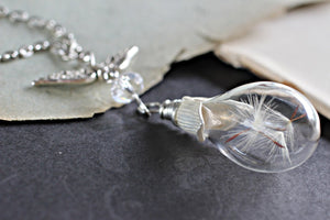 Dandelion Seed Necklace, Wish Necklace, Dandelion Necklace, Real Flower Jewelry, Glass Bottle Necklace, Glass Teardrop, Nature Jewelry