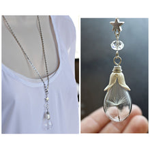 Load image into Gallery viewer, Dandelion Seed Necklace, Wish Necklace, Dandelion Necklace, Silver Star Necklace, Real Flower Jewelry, Teardrop Glass Bottle Necklace, Bulk
