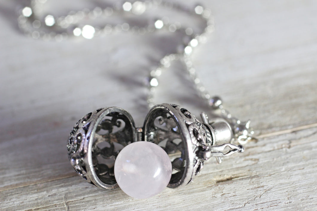 Rose Quartz Necklace, Wish Box Necklace, Attract Love, Antique Silver Orb Necklace, Ball Locket, Bali Jewelry, Angel Caller, Harmony Ball