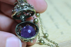 Amethyst Necklace, February Birthstone, Bola Locket, Wish Box Necklace, Antique Bronze Orb Necklace, Bola Necklace, Angel Caller Necklace