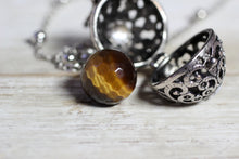 Load image into Gallery viewer, Wish Box Necklace, Tiger Eye Necklace, Antique Silver Orb Necklace, Ball Locket, Bali Jewelry, Angel Caller, Harmony Ball, Tiger Eye Jewelry