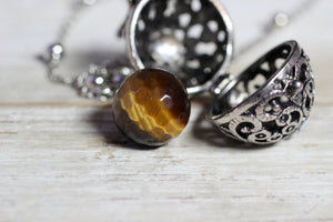 Wish Box Necklace, Tiger Eye Necklace, Antique Silver Orb Necklace, Ball Locket, Bali Jewelry, Angel Caller, Harmony Ball, Tiger Eye Jewelry