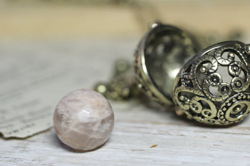 Moonstone Necklace, Wish Box Necklace, Red Moonstone Necklace, June Birthstone, Bronze Ball Locket, Angel Caller, Harmony Ball Moon Necklace