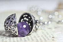 Load image into Gallery viewer, Wish Box Necklace, Amethyst Necklace, Antique Silver Orb Necklace, Ball Locket, Bali Jewelry, Angel Caller, Harmony Ball, Amethyst Pendant