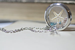 Real Starfish Necklace, Sea Star Necklace, Personalised Gift, Animal Lover Jewelry, Floating Locket Necklace, Glass Locket, Letter Necklace