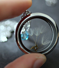 Load image into Gallery viewer, Owl Necklace, Dandelion Necklace, Turquoise Necklace, Dandelion Seed Necklace, Glass Floating Locket, Dandelion Wish Necklace, Owl Gifts,
