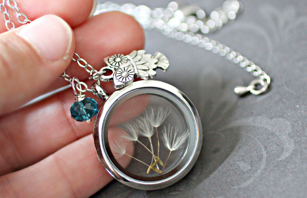 Owl Necklace, Dandelion Necklace, Turquoise Necklace, Dandelion Seed Necklace, Glass Floating Locket, Dandelion Wish Necklace, Owl Gifts,