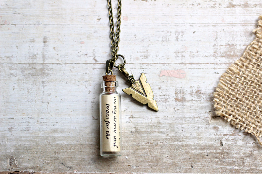 For Him Jewelry, Boyfriend Gift, Arrow Necklace, Arrowhead Necklace, Bronze Gift for Him, Message in a Bottle, Arrow Jewelry, Quote Necklace
