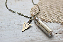 Load image into Gallery viewer, For Him Jewelry, Boyfriend Gift, Arrow Necklace, Arrowhead Necklace, Bronze Gift for Him, Message in a Bottle, Arrow Jewelry, Quote Necklace